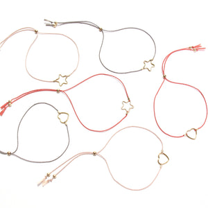 pale pink silk heart friendship bracelet