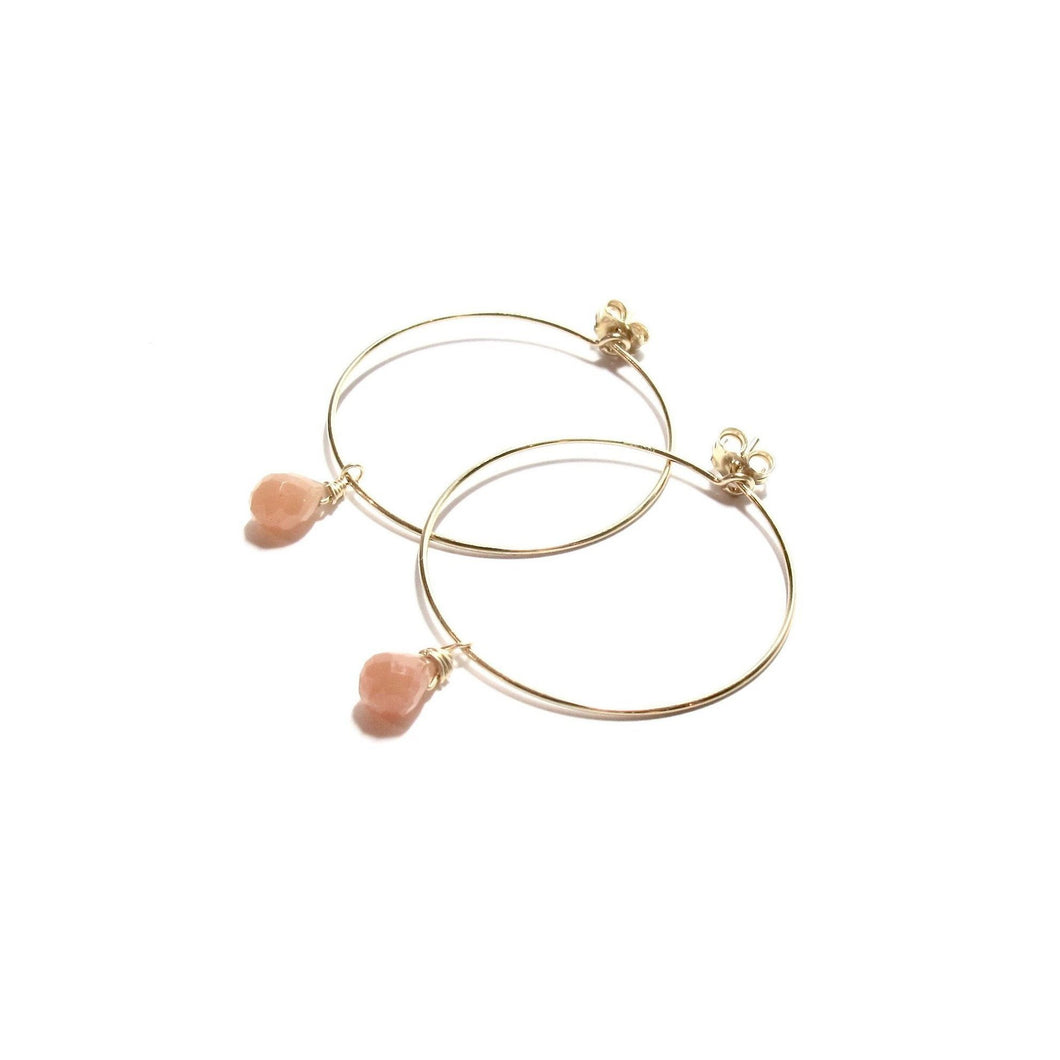 peach aventurine medium hoop earrings
