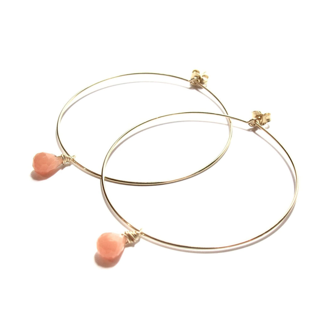 peach aventurine large hoop earrings
