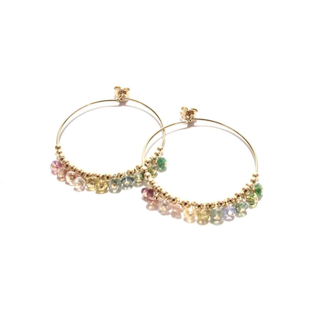 multi rainbow tourmaline medium hoop earrings