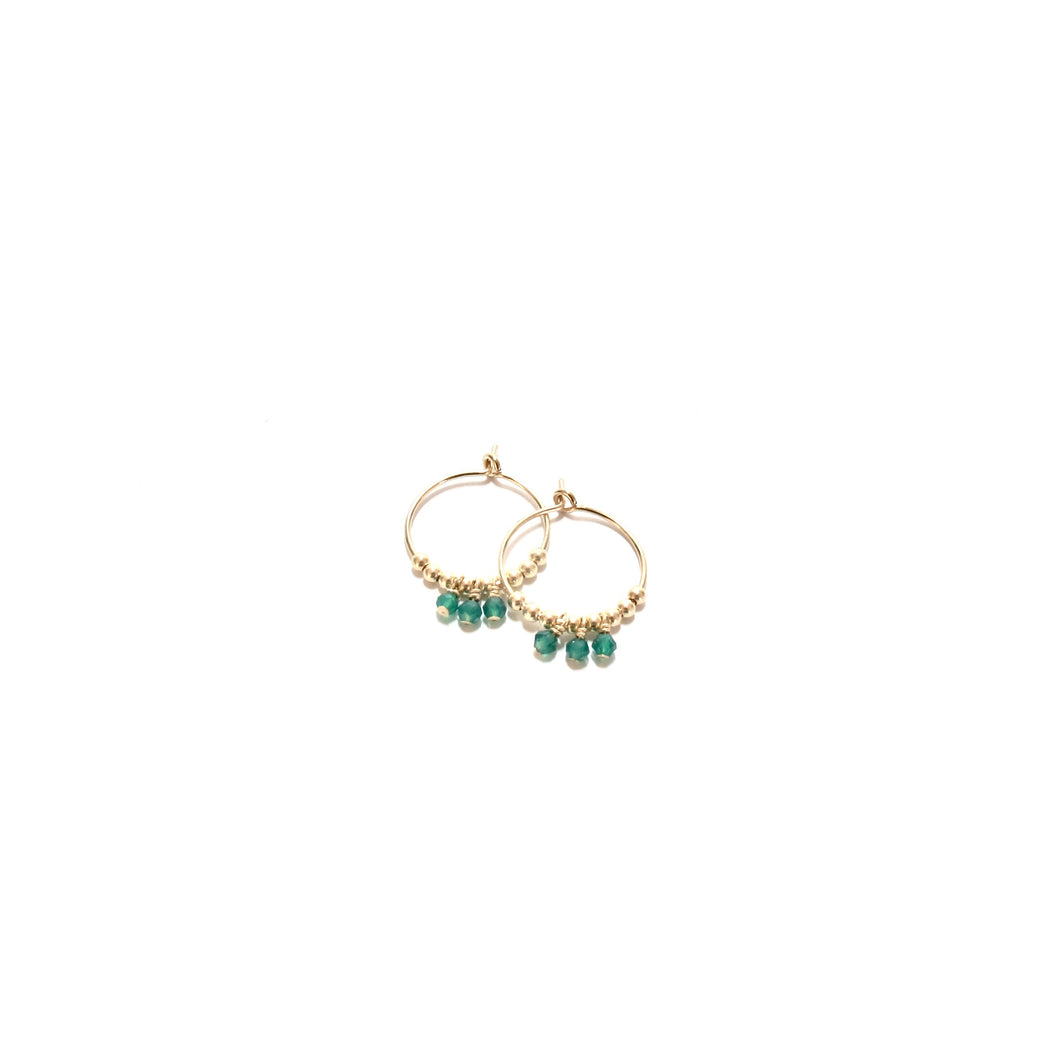 multi green onyx small hoop earrings