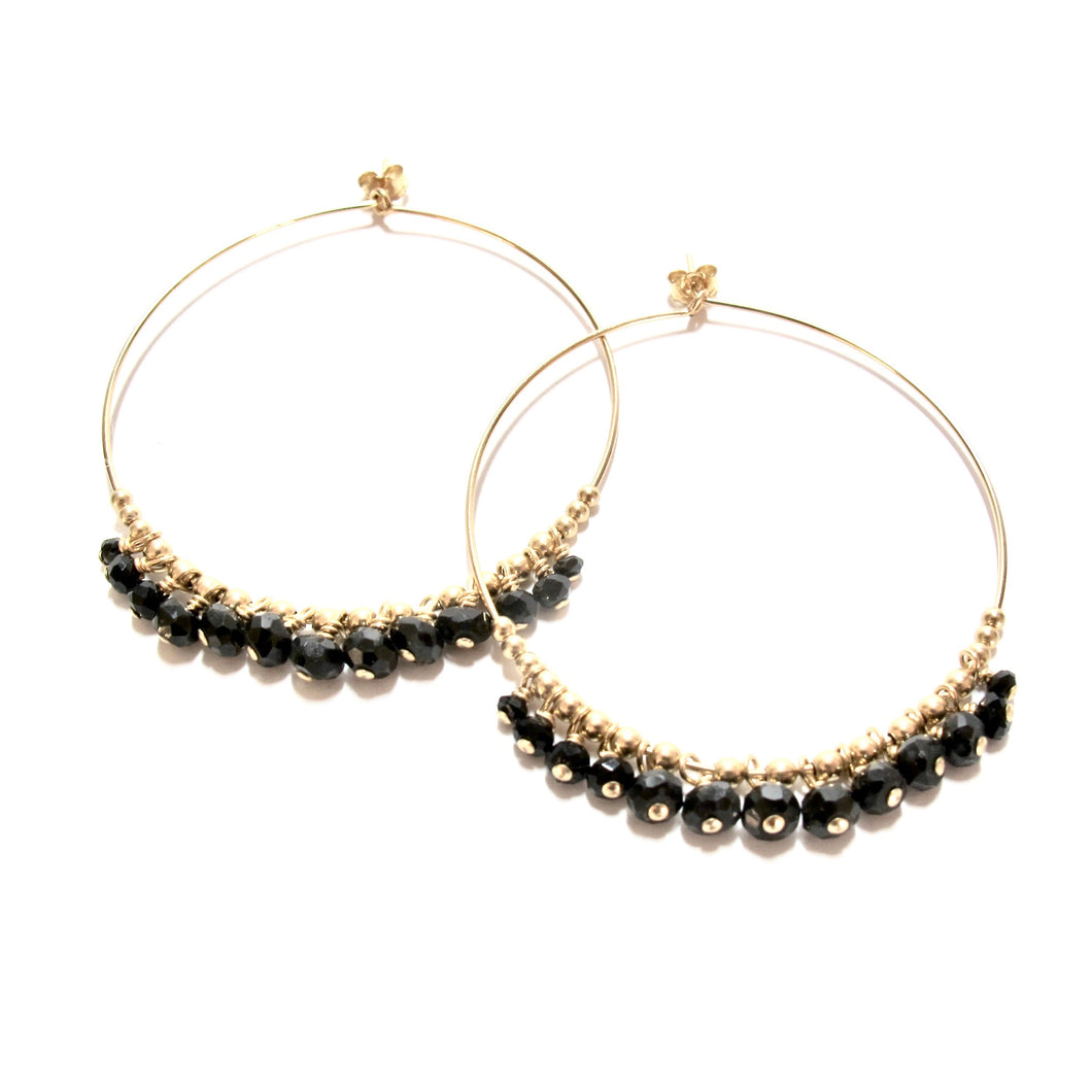 multi black onyx large hoop earrings