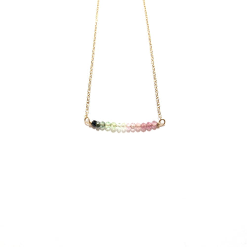 line of rainbow tourmaline necklace