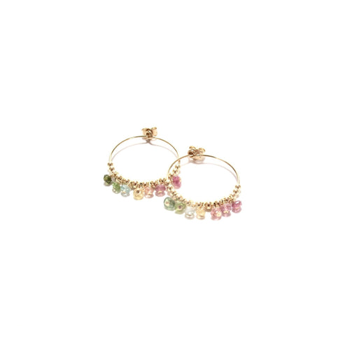 multi rainbow tourmaline midi hoop earrings
