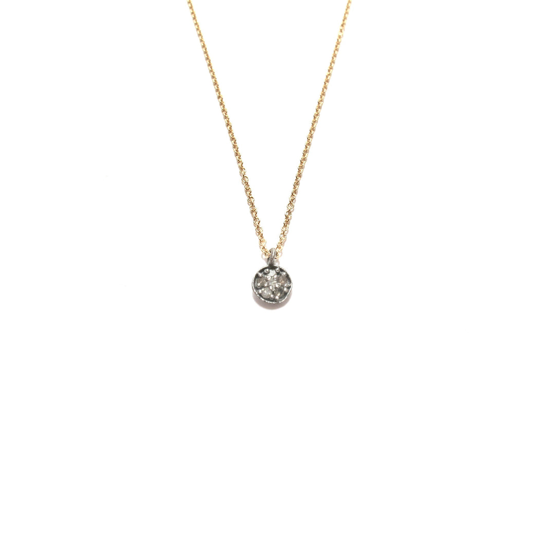 tiny pave diamond circle necklace