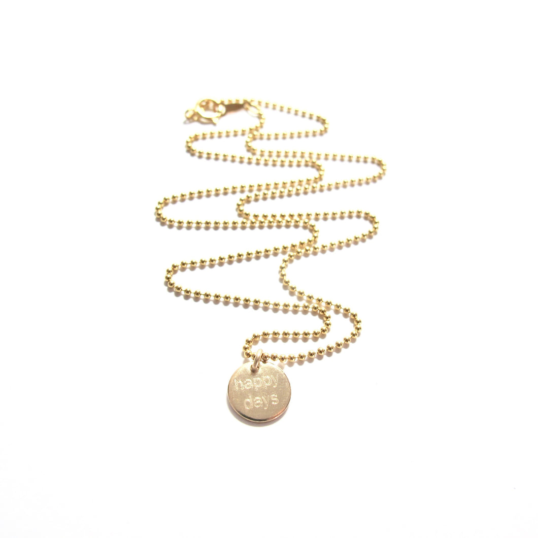small happy days disc necklace