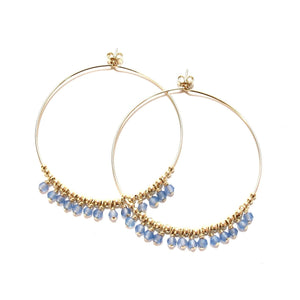 multi blue chalcedony large hoop earrings