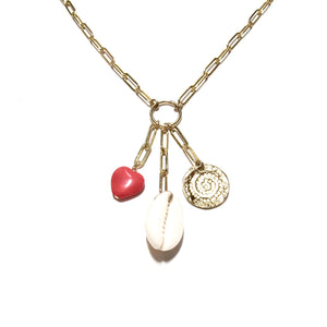 long link chain shell heart disc necklace