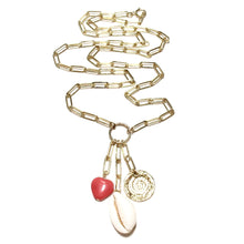 Load image into Gallery viewer, long link chain shell heart disc necklace