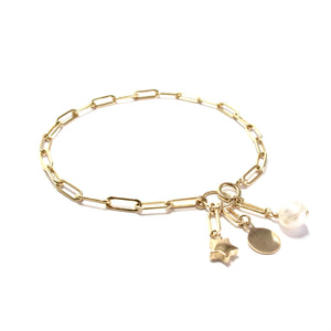 long link chain and charms bracelet