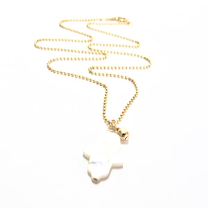 mother of pearl hamsa and gold bead necklace