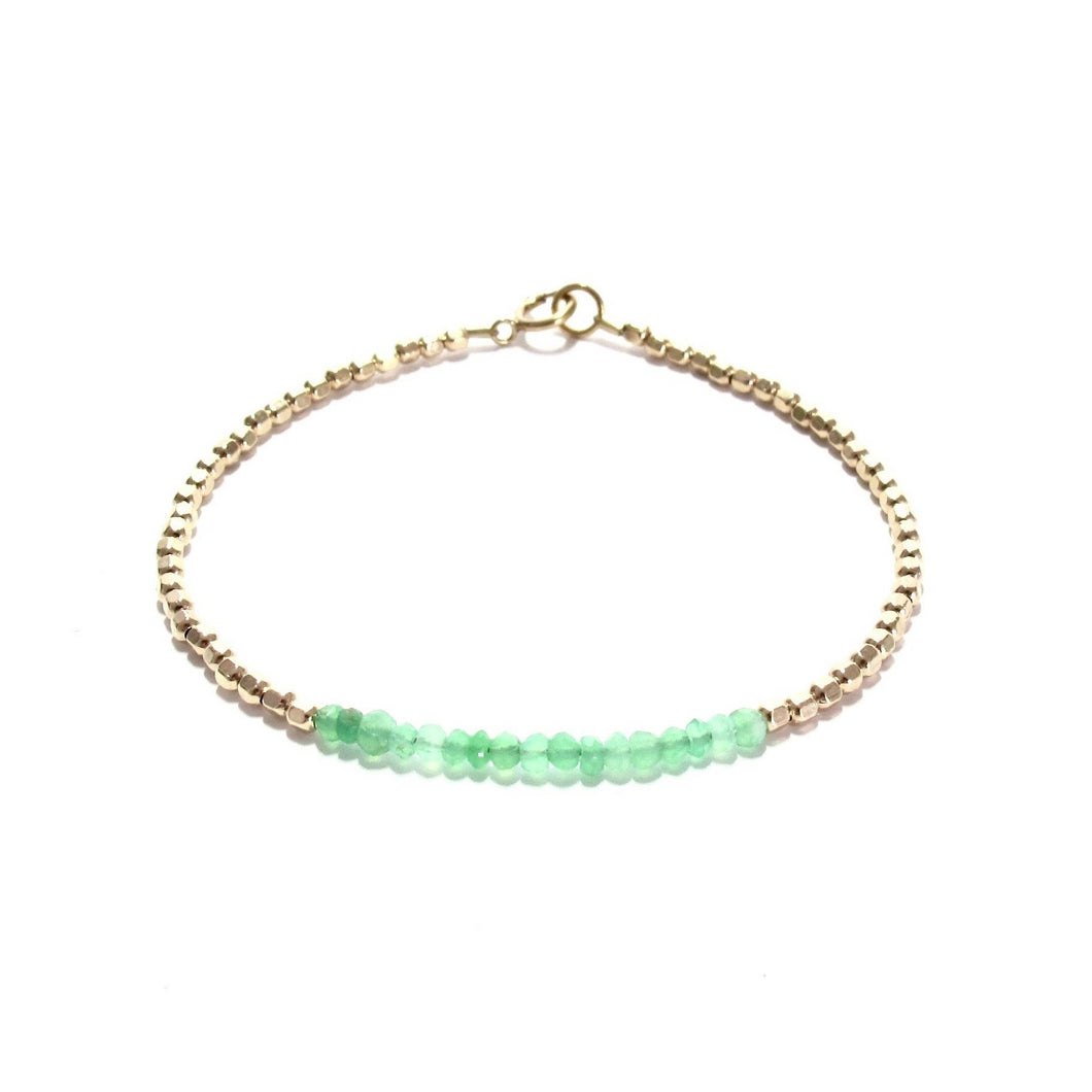 chrysoprase line and gold beads bracelet