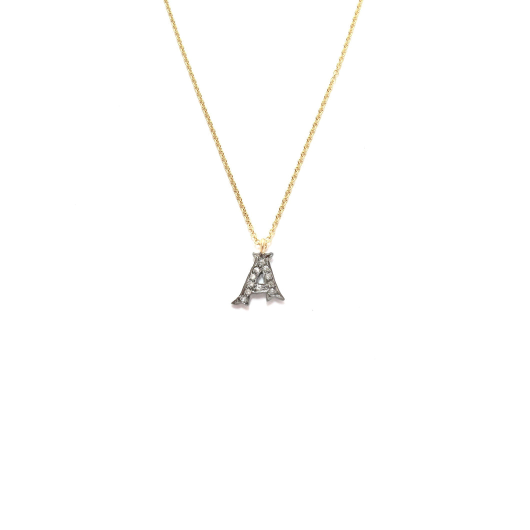 small pave diamond initial necklace (limited choice of letters)