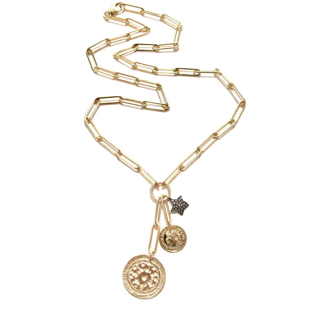 hammered disc coin & diamond star necklace