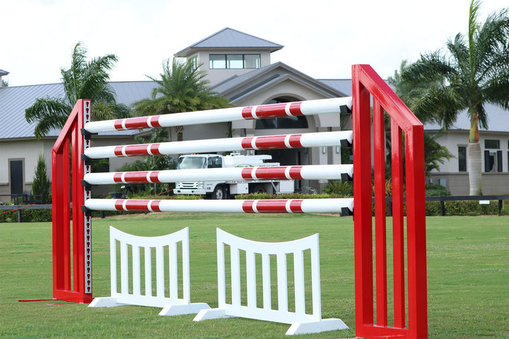 Aluminum Picket Standards from Dalman Jump Co., shown with round poles and picket fence filler