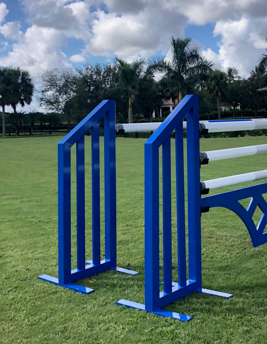 Aluminum Picket Standards from Dalman Jump Co. in blue