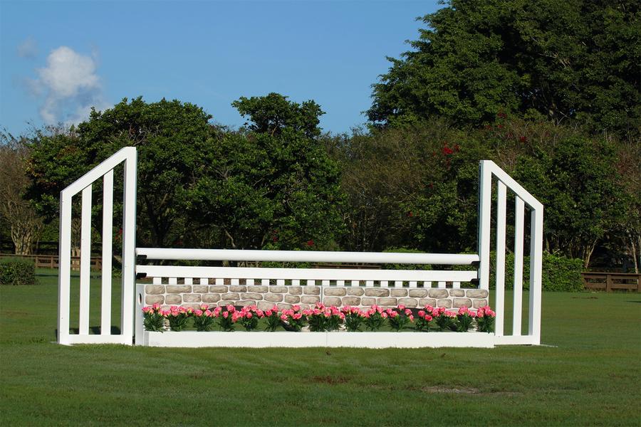 Aluminum Picketed Wing Standards with Stone Wall, Ladder Style Gate, and Flower Boxes