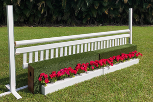 Aluminum Schooling Stick Standards with Ladder Style Gate, Turf Wall and Flower Boxes