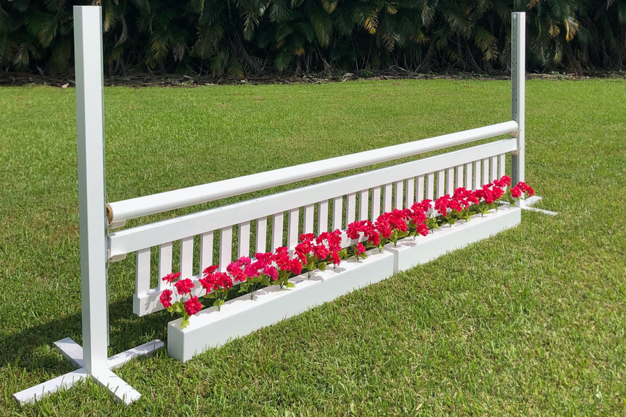 Aluminum Schooling Stick Standards with Ladder Style Gate and Flower Boxes