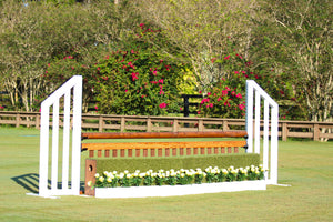 Aluminum Picketed Wing Standards with Ladder Style Gate, Hunter Turf Fall and Flower Boxes