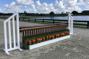 Aluminum Picketed Wing Standards with Ladder style Gate, Turf Wall, and Flower Boxes