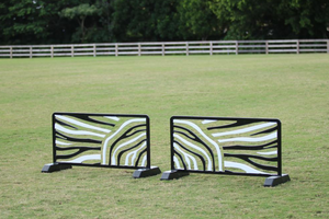 Zebra cutout jump fillers from Dalman Jump Co. — black and white