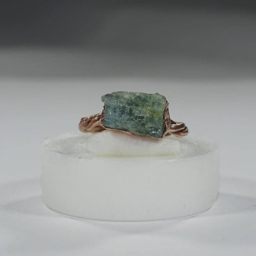 Aquamarine Twist Band Ring