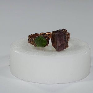 Peridot & Pink Tourmaline twist band ring