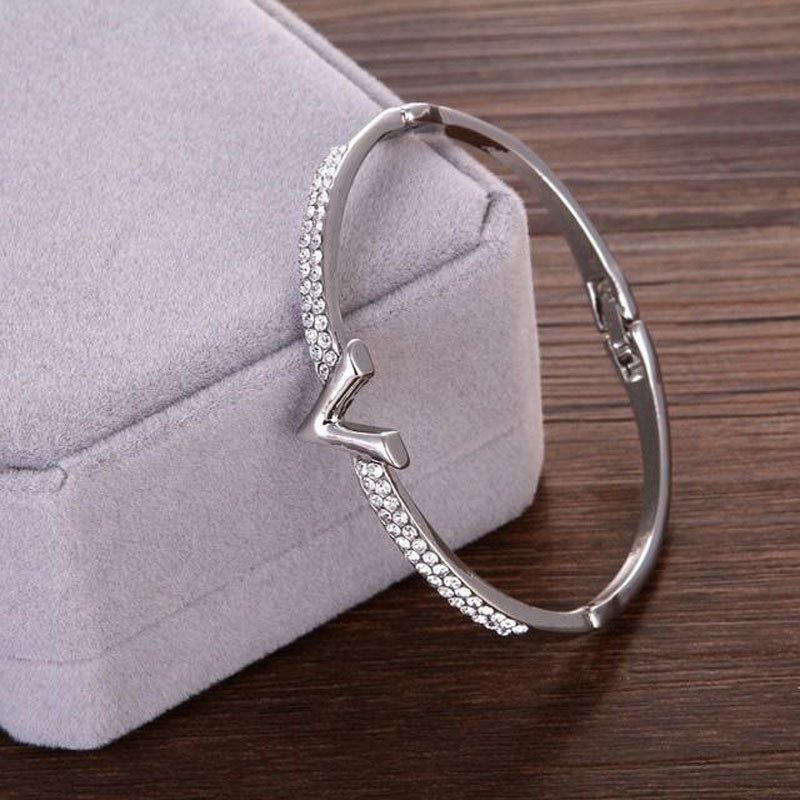 Silver Freya Diamond Hinged Bangle
