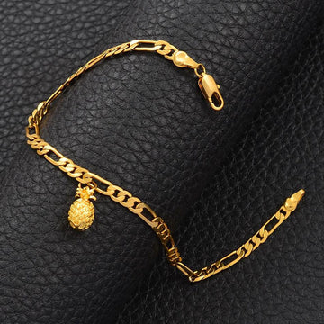 Gold Pineapple Tag Figaro Chain Bracelet