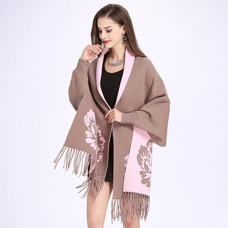 Carnation Print Fringed Coat