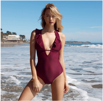 Layla Red Ruffles One-Piece Swimsuit