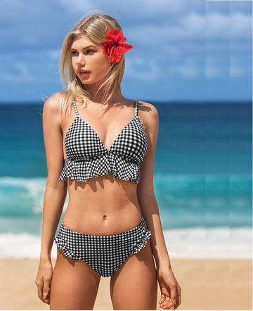 Palmer Black Plaid Ruffles Bikini Set