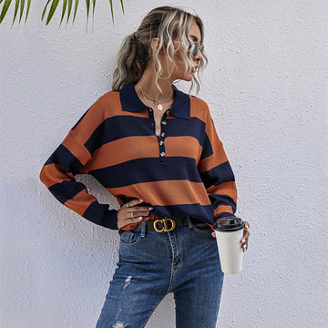 Blue and Orange Striped Polo Sweater