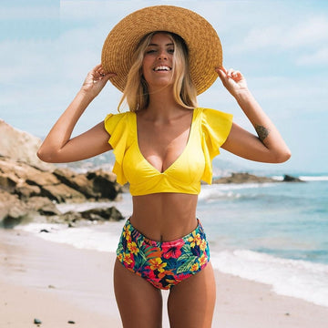Natasha Yellow Ruffled Bikini Set