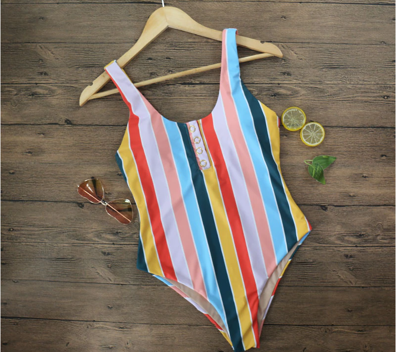Piper Stripe Buttons One-Piece Swimsuit