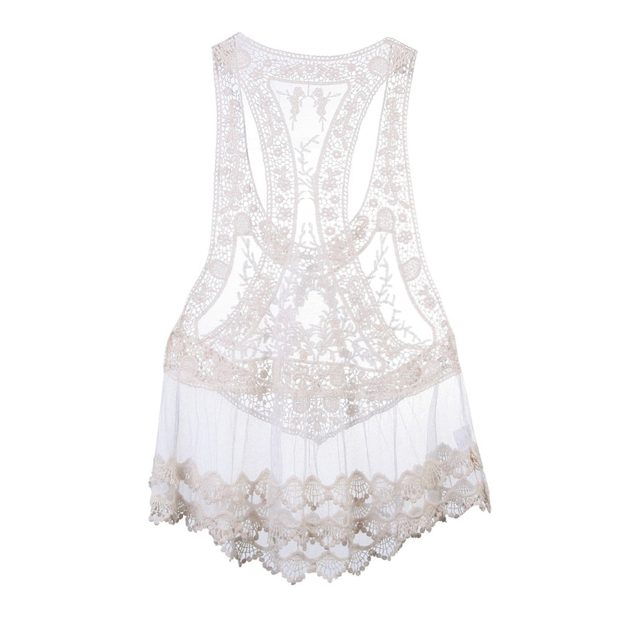 Pamela White Lacey Crochet Cover-Up