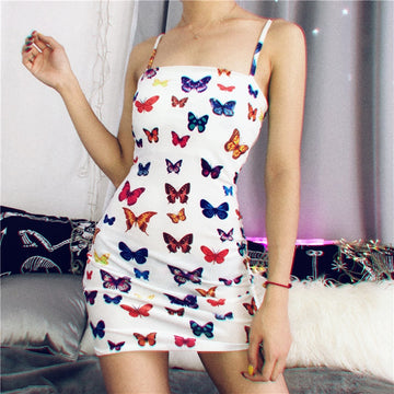 Dinah Butterfly Print Dress | White