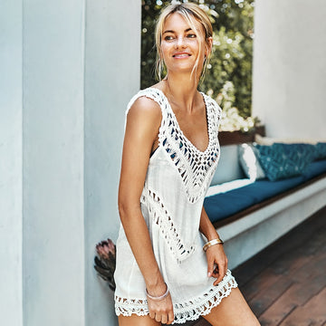 Cassie White Crochet Sleeveless Tunic Cover Up