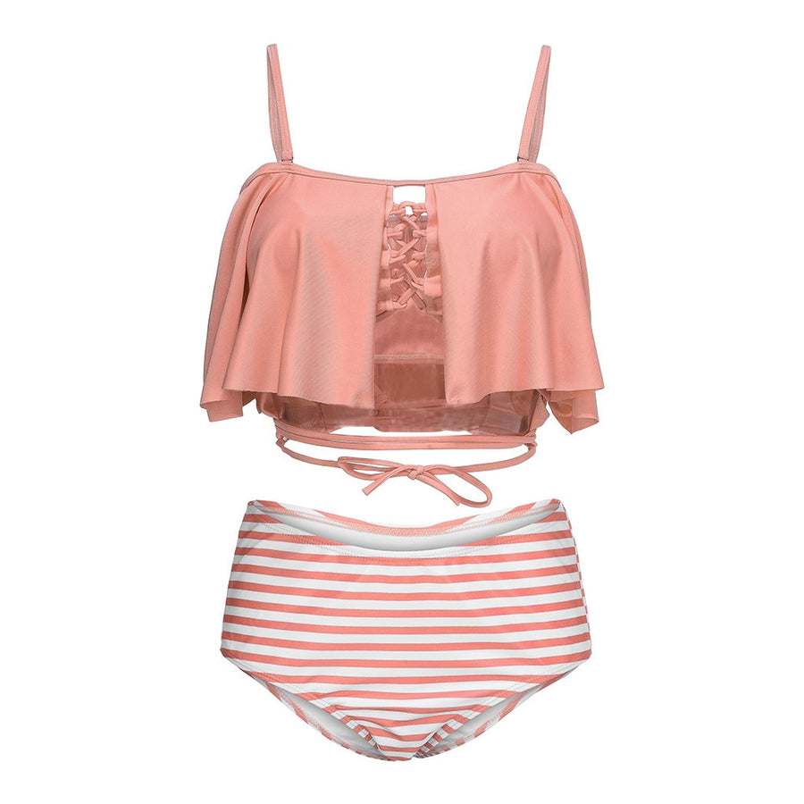 Diedre Pink and Stripe Ruffles Plus-Size Bikini