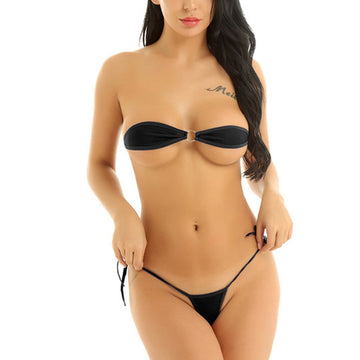 Alodia Black G-String Thong Bikini Set
