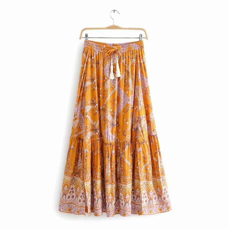 Zosime Floral Print Long Skirts