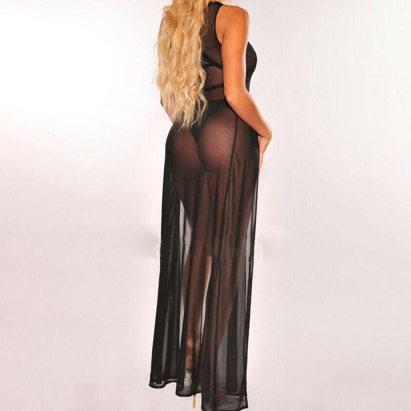 Jessica Black Long Sheer Cover-Up Dress