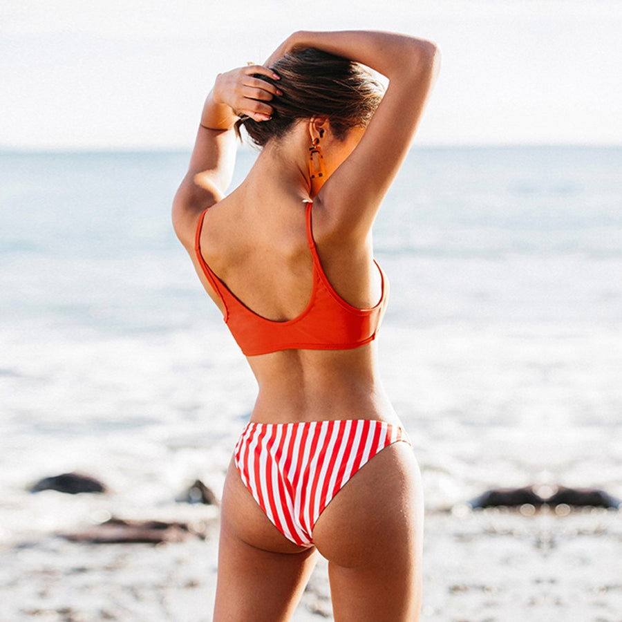 Sammy Red and Stripe Bikini Set