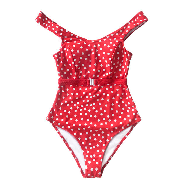 Hannah Red Polka Dot Belted One-Piece Swimsuit