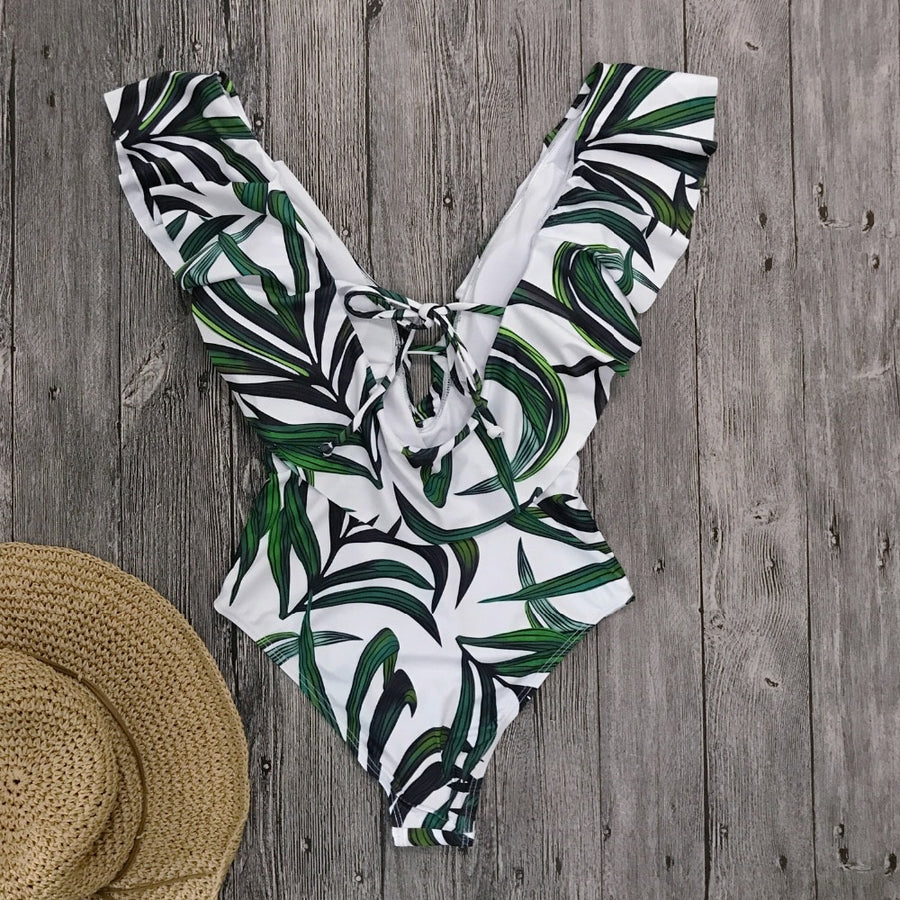 Reese Tropical Leaf Ruffled One-Piece Swimsuit