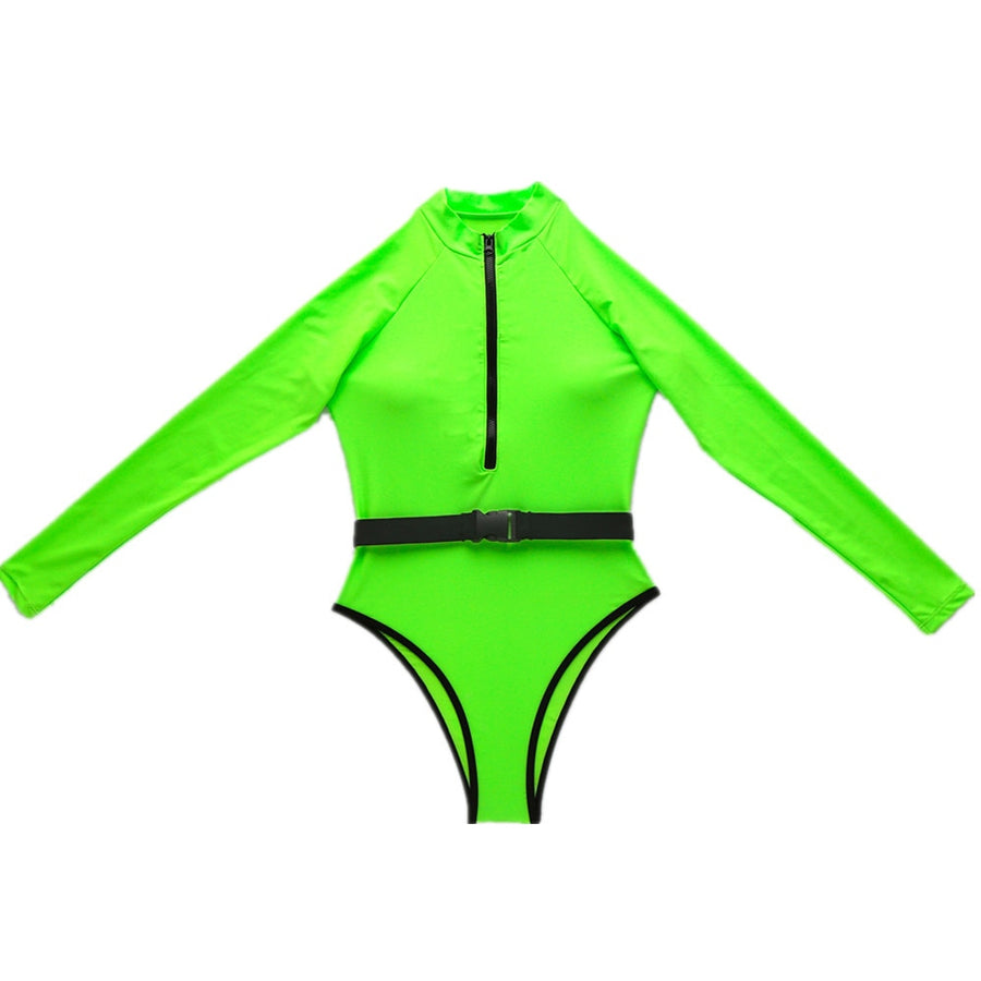 Lizzie Green Sporty Zip One Piece Swimsuit