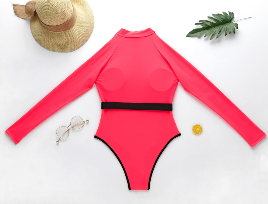 Lizzie Pink Sporty Zip One Piece Swimsuit