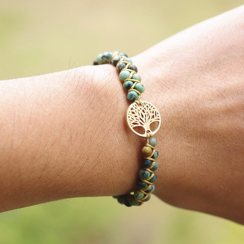 Gold Tree of Life Braided Charm Bracelet