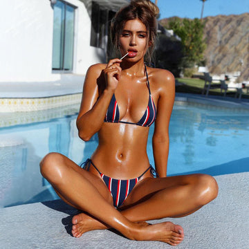 Cheska Blue Striped Bikini Set